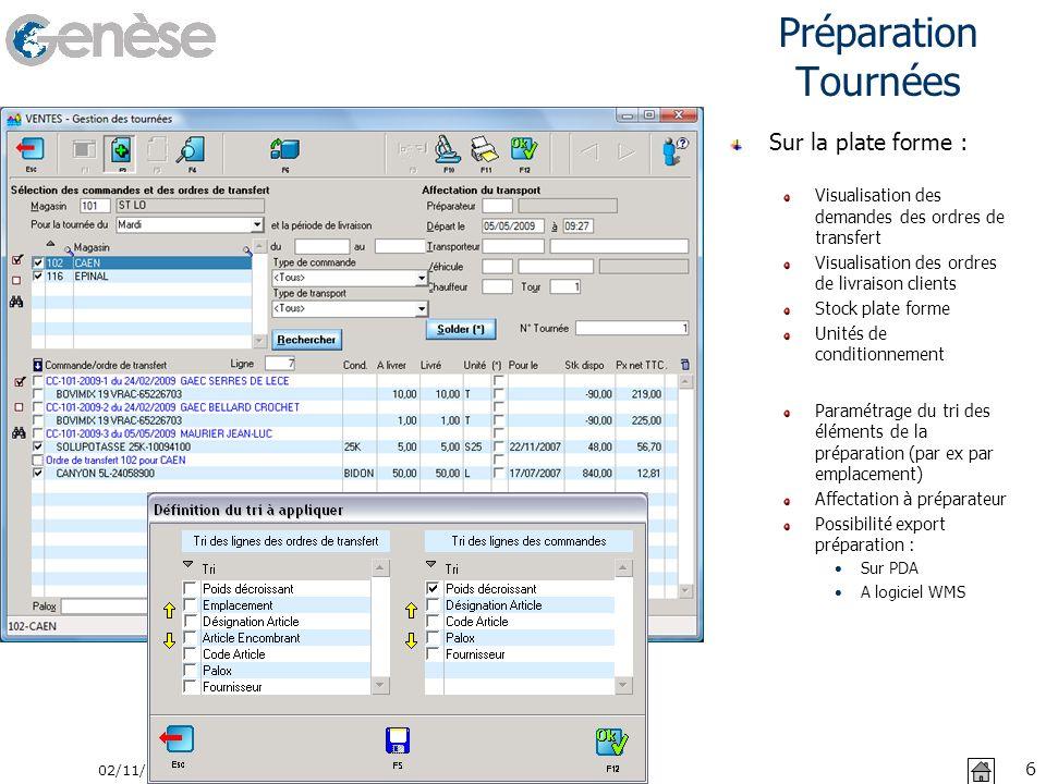 Préparation Tournées 02/11/2013 6 Sur la plate forme : Visualisation des demandes des ordres de transfert Visualisation des ordres de livraison client