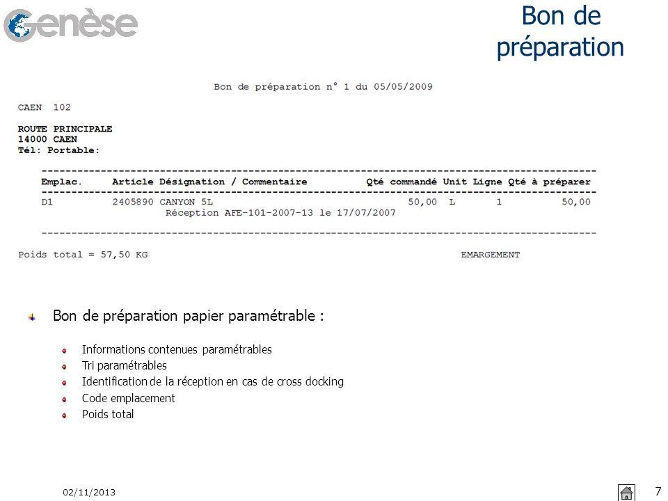 Bon de préparation 02/11/2013 7 Bon de préparation papier paramétrable : Informations contenues paramétrables Tri paramétrables Identification de la r