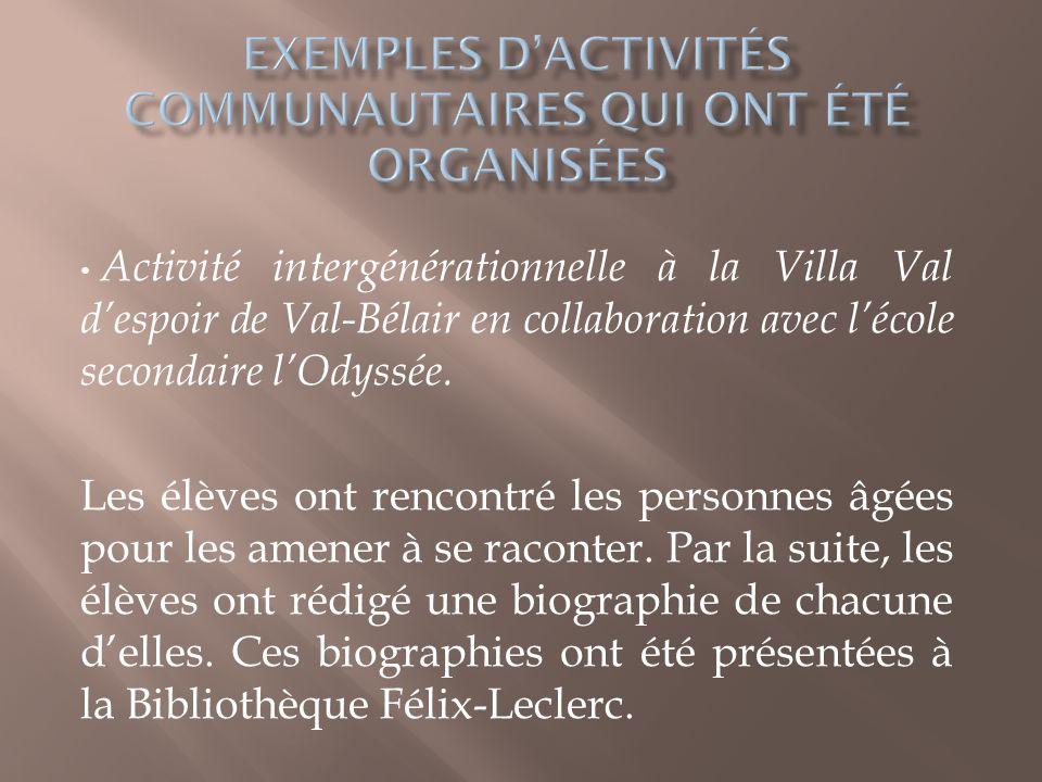 Une activité interculturelle à la Villa de lAvenir de Val-Bélair en collaboration avec lorganisme Le Mieux-être des immigrants.