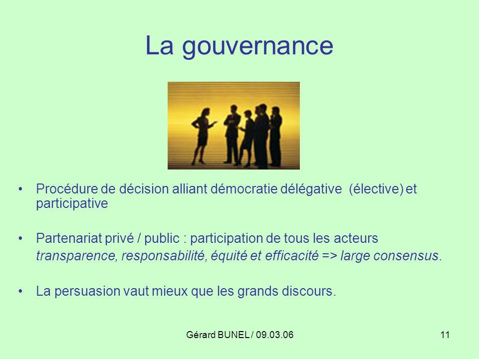 Gérard BUNEL / 09.03.0611 La gouvernance Procédure de décision alliant démocratie délégative (élective) et participative Partenariat privé / public :