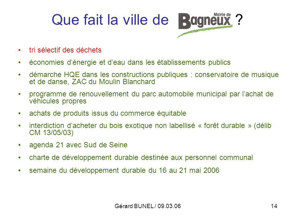 Gérard BUNEL / 09.03.0614 Que fait la ville de Bagneux ? tri sélectif des déchets économies dénergie et deau dans les établissements publics démarche