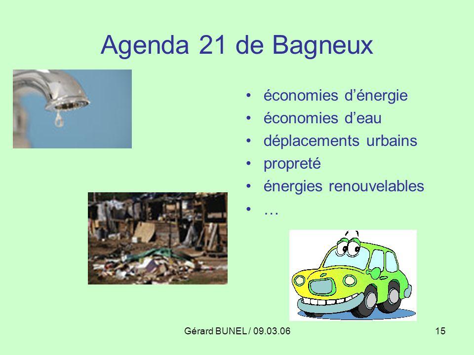 Gérard BUNEL / 09.03.0615 Agenda 21 de Bagneux économies dénergie économies deau déplacements urbains propreté énergies renouvelables …