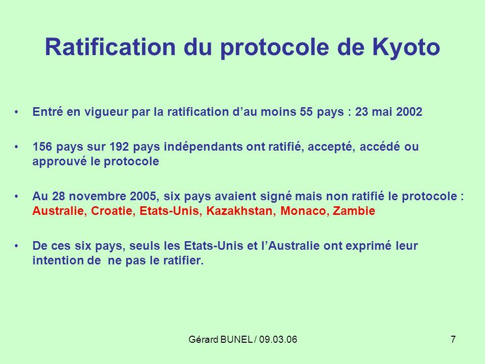 Gérard BUNEL / 09.03.067 Ratification du protocole de Kyoto Entré en vigueur par la ratification dau moins 55 pays : 23 mai 2002 156 pays sur 192 pays