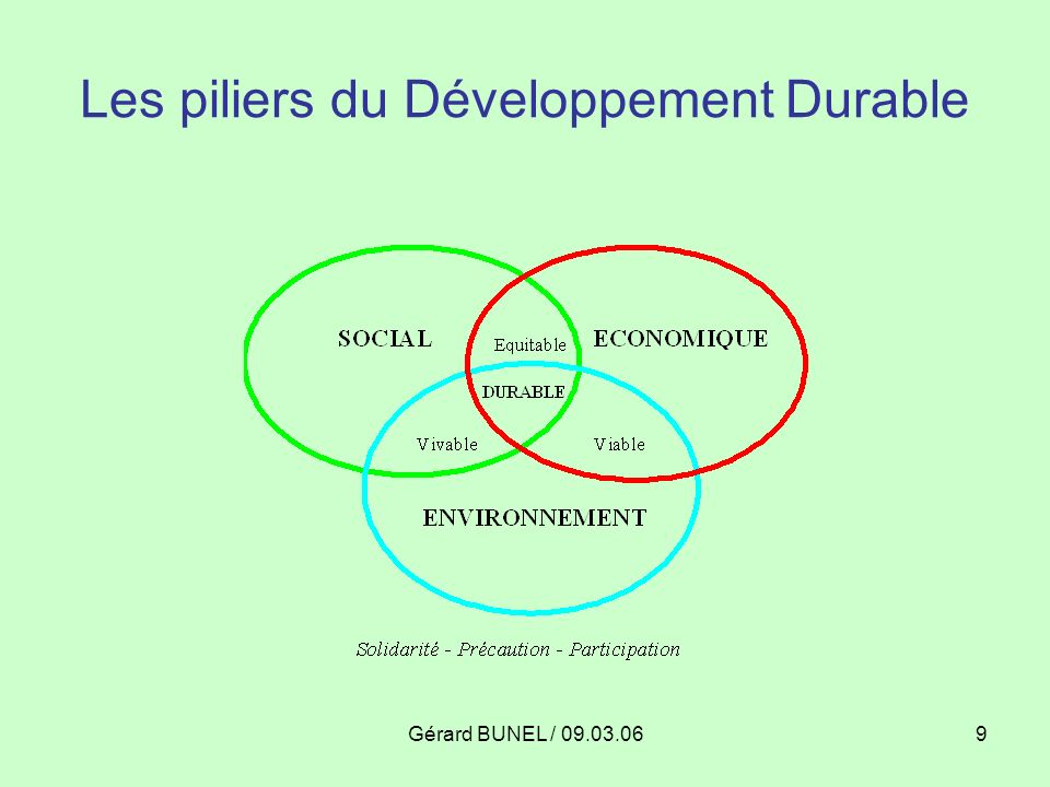 Gérard BUNEL / 09.03.069 Les piliers du Développement Durable