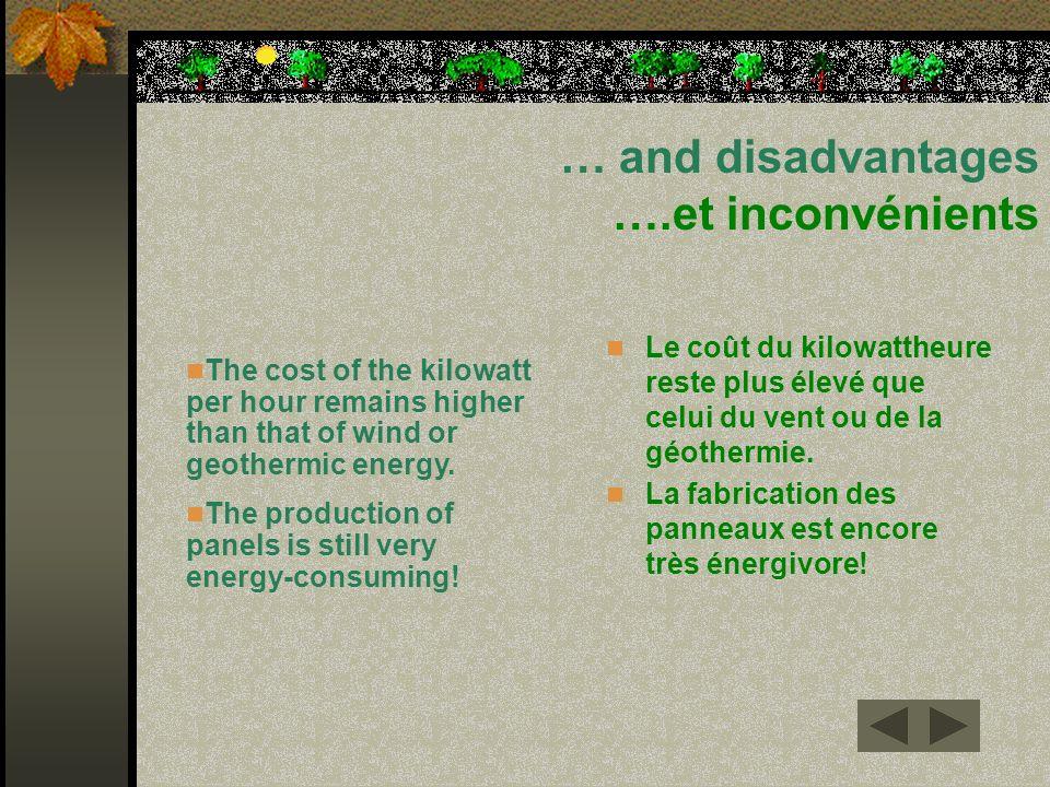 … and disadvantages ….et inconvénients Le coût du kilowattheure reste plus élevé que celui du vent ou de la géothermie. La fabrication des panneaux es