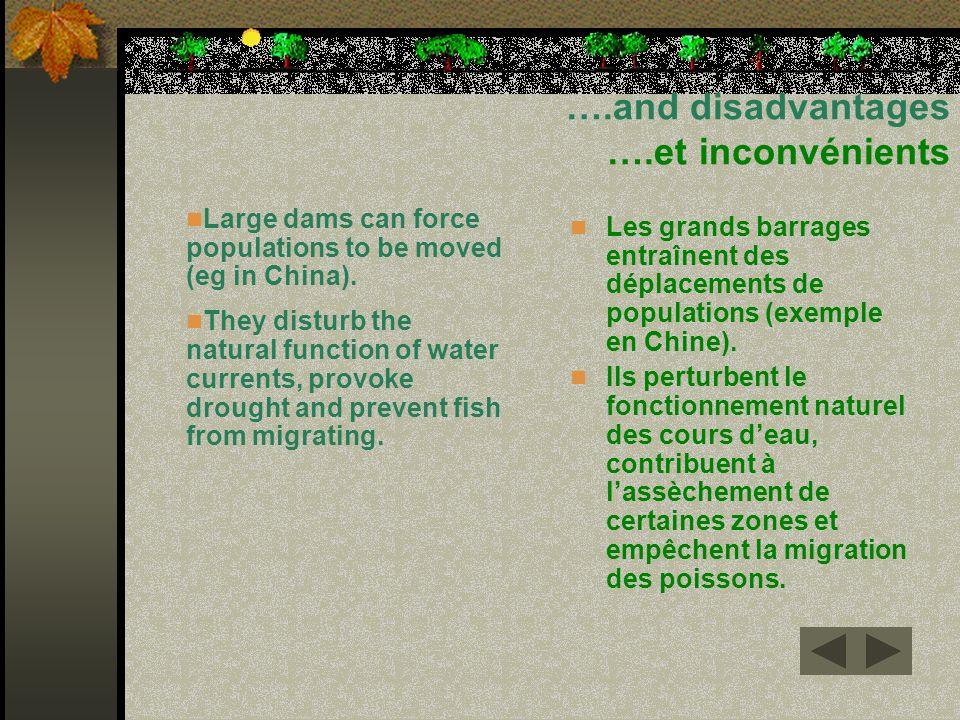 ….and disadvantages ….et inconvénients Les grands barrages entraînent des déplacements de populations (exemple en Chine). Ils perturbent le fonctionne
