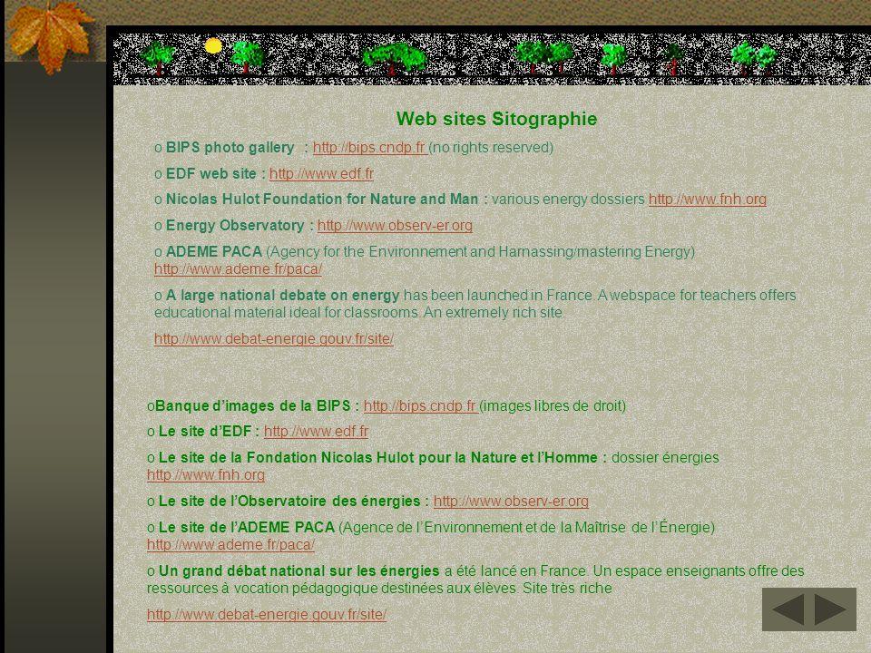 oBanque dimages de la BIPS : http://bips.cndp.fr (images libres de droit)http://bips.cndp.fr o Le site dEDF : http://www.edf.frhttp://www.edf.fr o Le