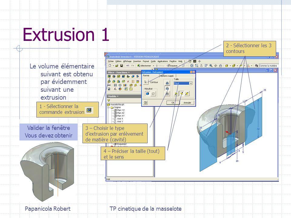 Papanicola RobertTP cinetique de la masselote Extrusion 1 Le volume élémentaire suivant est obtenu par évidemment suivant une extrusion 2 - Sélectionn