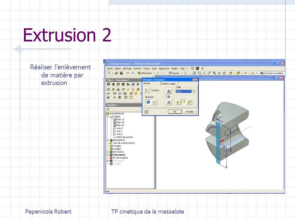 Papanicola RobertTP cinetique de la masselote Extrusion 2 Réaliser lenlèvement de matière par extrusion