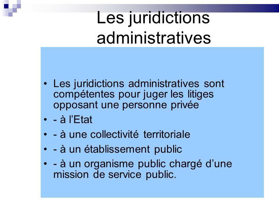 Les juridictions administratives Les juridictions administratives sont compétentes pour juger les litiges opposant une personne privée - à lEtat - à u