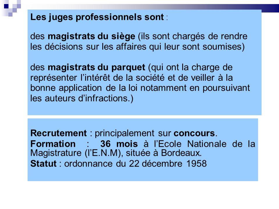 Les juges professionnels sont : des magistrats du siège (ils sont chargés de rendre les décisions sur les affaires qui leur sont soumises) des magistr