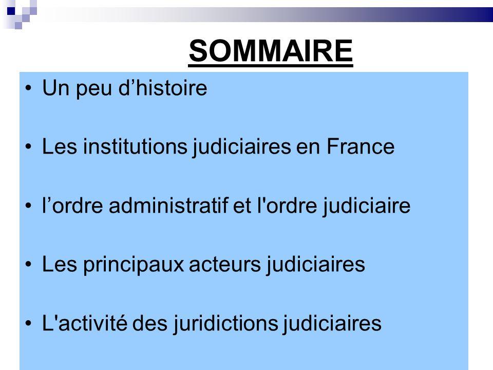 SOMMAIRE Un peu dhistoire Les institutions judiciaires en France lordre administratif et l'ordre judiciaire Les principaux acteurs judiciaires L'activ