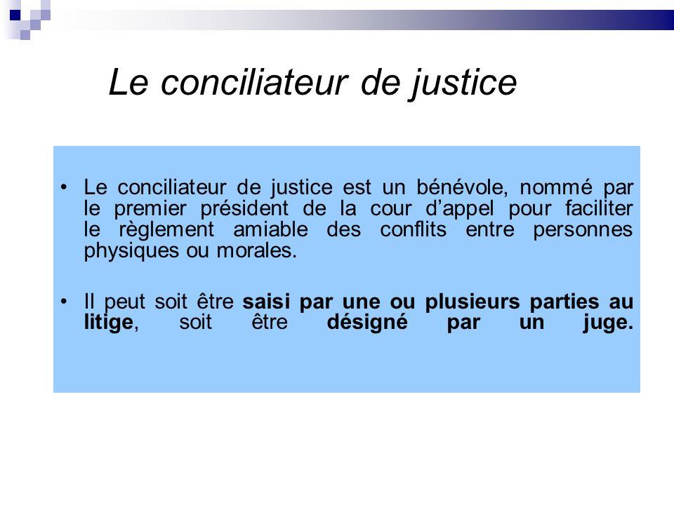 Le conciliateur de justice Le conciliateur de justice est un bénévole, nommé par le premier président de la cour dappel pour faciliter le règlement am