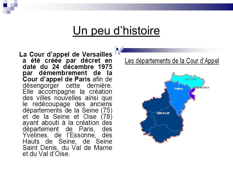 Un peu dhistoire La Cour dappel de Versailles a été créée par décret en date du 24 décembre 1975 par démembrement de la Cour dappel de Paris afin de d