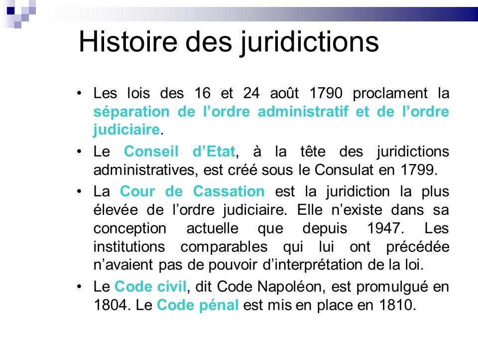 Histoire des juridictions Les lois des 16 et 24 août 1790 proclament la séparation de lordre administratif et de lordre judiciaire. Le Conseil dEtat,