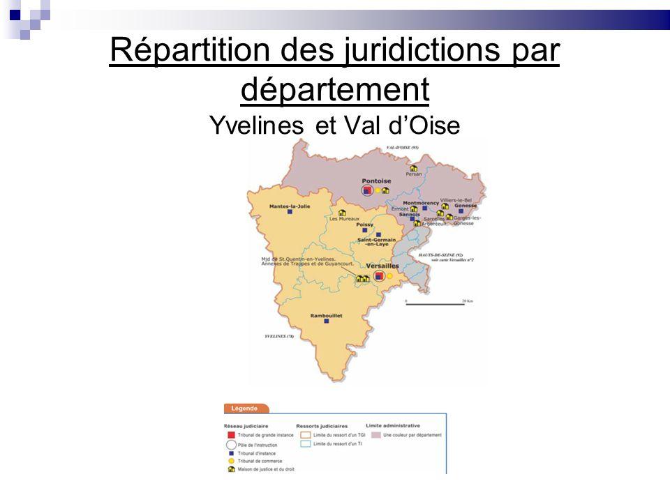Répartition des juridictions par département Yvelines et Val dOise
