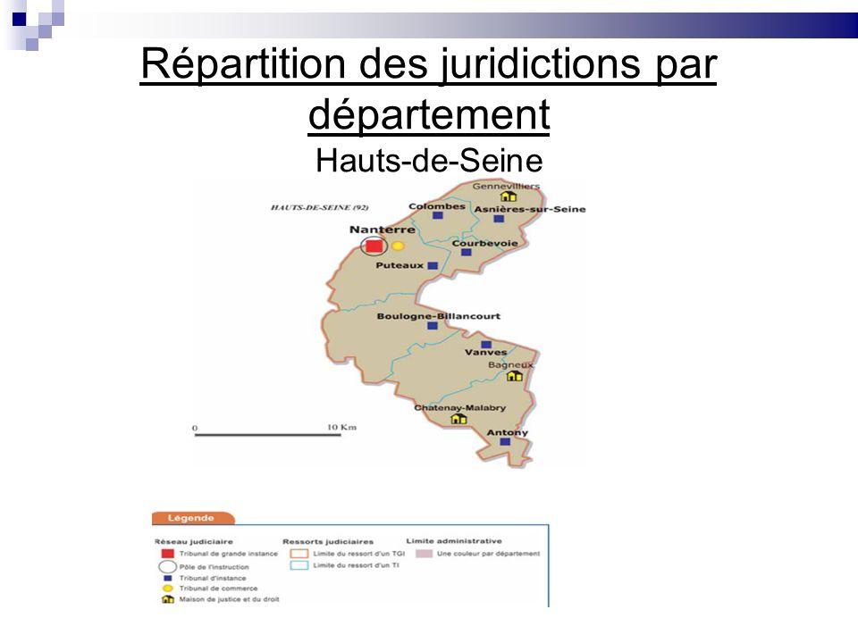 Répartition des juridictions par département Hauts-de-Seine
