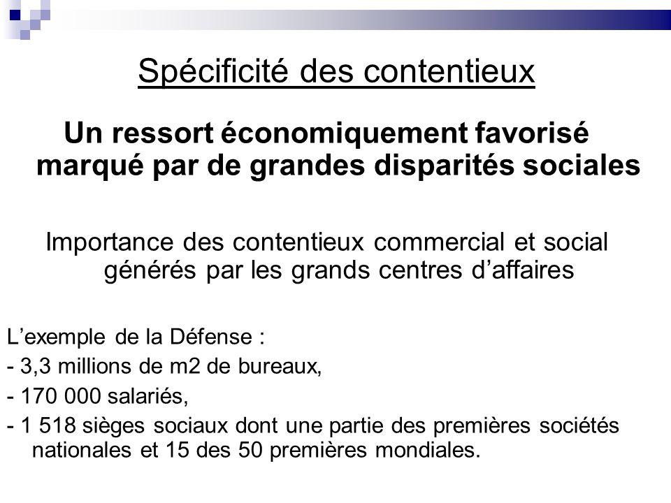 Spécificité des contentieux Un ressort économiquement favorisé marqué par de grandes disparités sociales Importance des contentieux commercial et soci