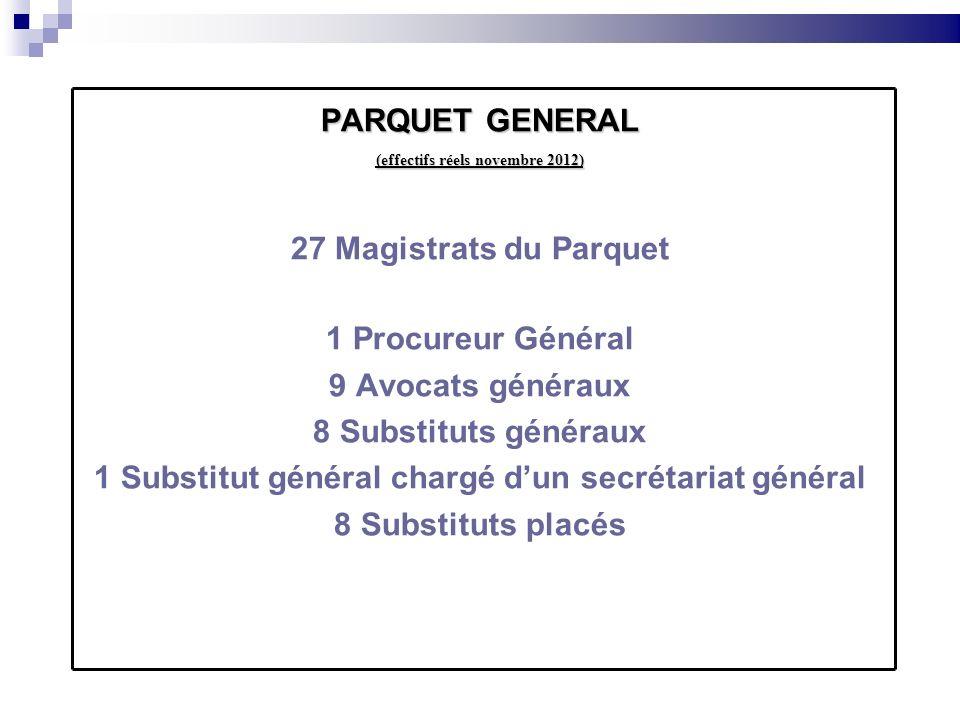 PARQUET GENERAL (effectifs réels novembre 2012) 27 Magistrats du Parquet 1 Procureur Général 9 Avocats généraux 8 Substituts généraux 1 Substitut géné