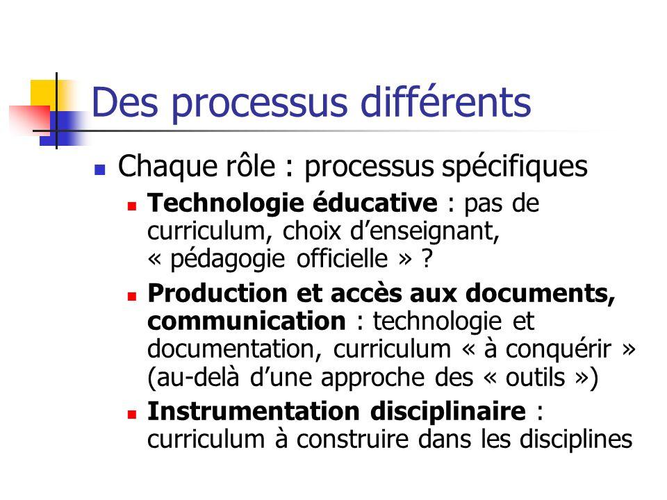 Des processus différents Chaque rôle : processus spécifiques Technologie éducative : pas de curriculum, choix denseignant, « pédagogie officielle » ?