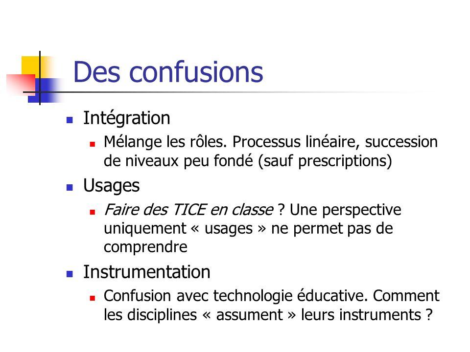 Des confusions Intégration Mélange les rôles. Processus linéaire, succession de niveaux peu fondé (sauf prescriptions) Usages Faire des TICE en classe