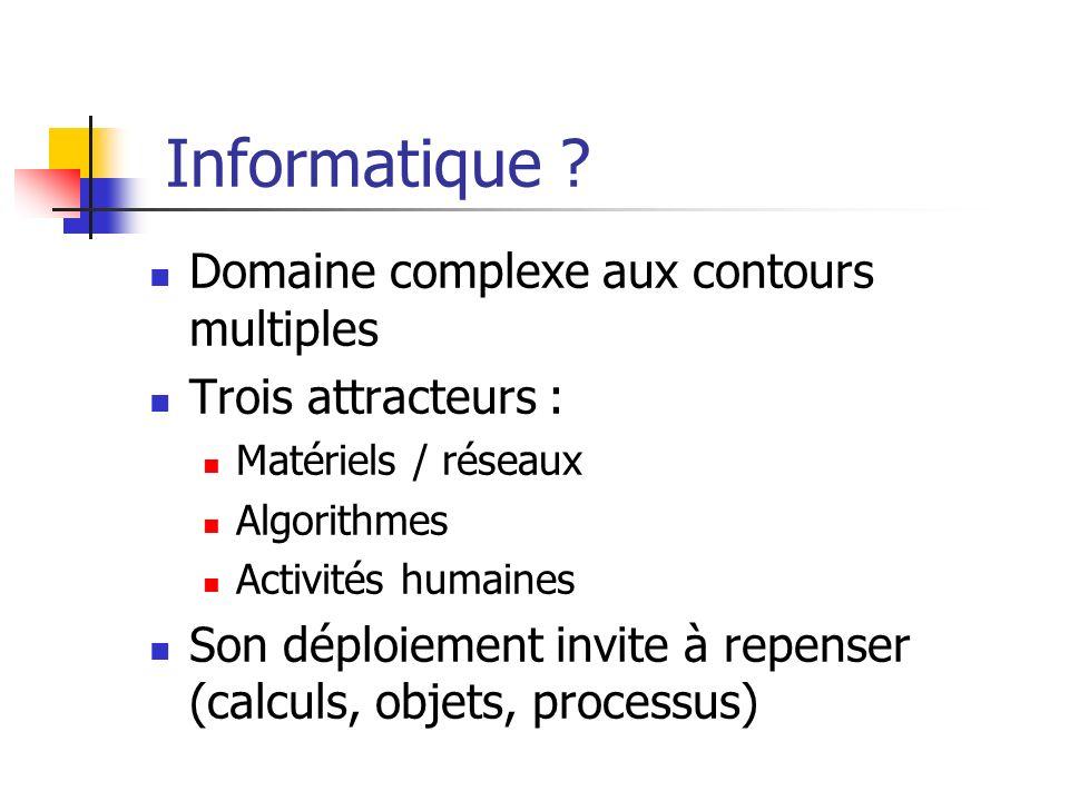 Informatique ? Domaine complexe aux contours multiples Trois attracteurs : Matériels / réseaux Algorithmes Activités humaines Son déploiement invite à