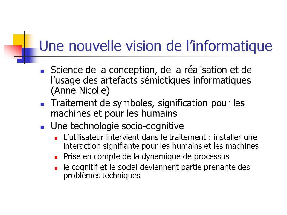 Une nouvelle vision de linformatique Science de la conception, de la réalisation et de lusage des artefacts sémiotiques informatiques (Anne Nicolle) T