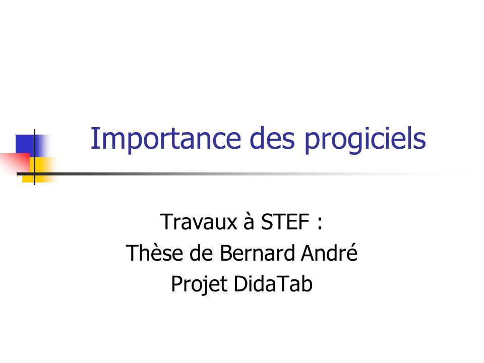 Importance des progiciels Travaux à STEF : Thèse de Bernard André Projet DidaTab