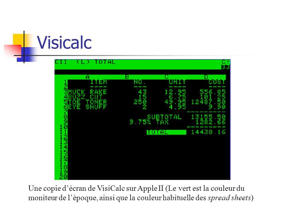 Visicalc Une copie décran de VisiCalc sur Apple II (Le vert est la couleur du moniteur de lépoque, ainsi que la couleur habituelle des spread sheets)
