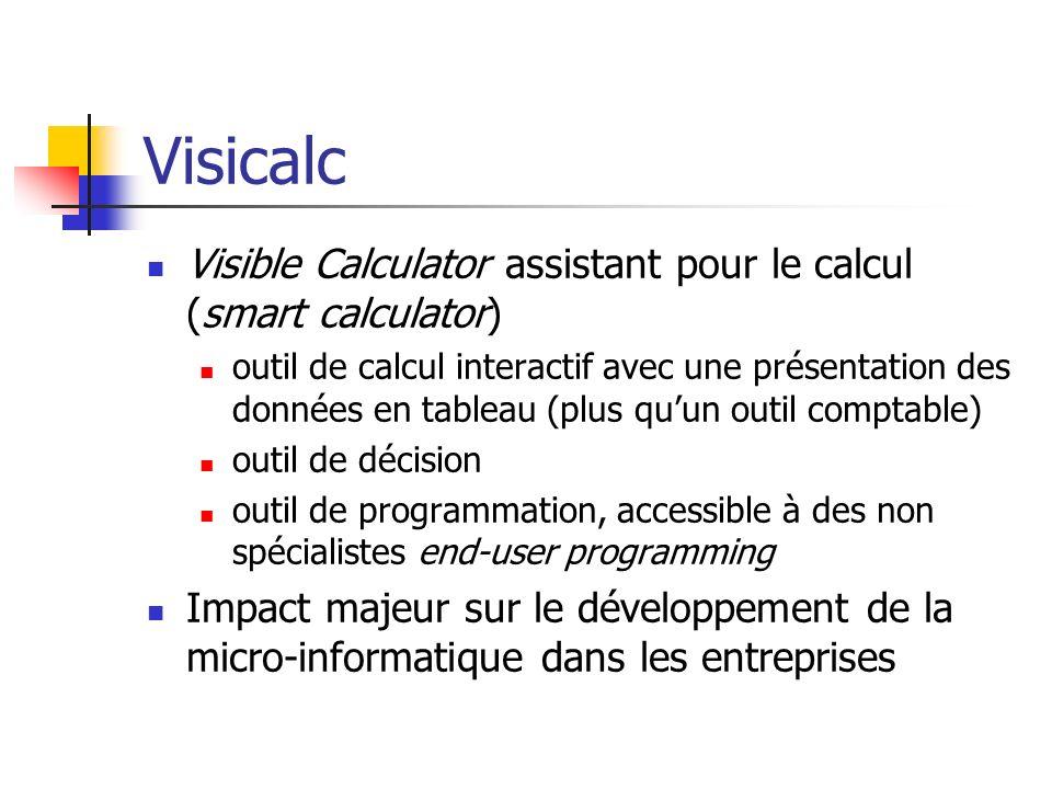Visicalc Visible Calculator assistant pour le calcul (smart calculator) outil de calcul interactif avec une présentation des données en tableau (plus