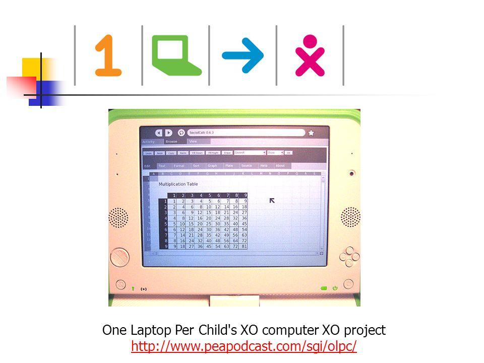 One Laptop Per Child's XO computer XO project http://www.peapodcast.com/sgi/olpc/ http://www.peapodcast.com/sgi/olpc/