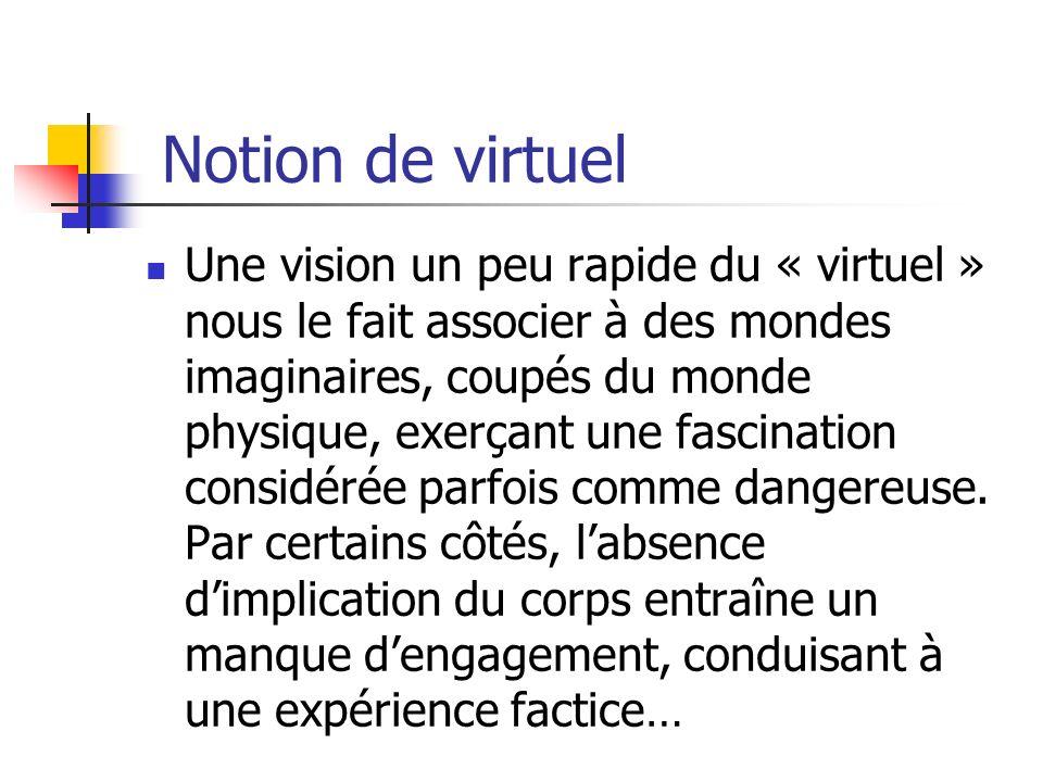 Notion de virtuel Une vision un peu rapide du « virtuel » nous le fait associer à des mondes imaginaires, coupés du monde physique, exerçant une fasci
