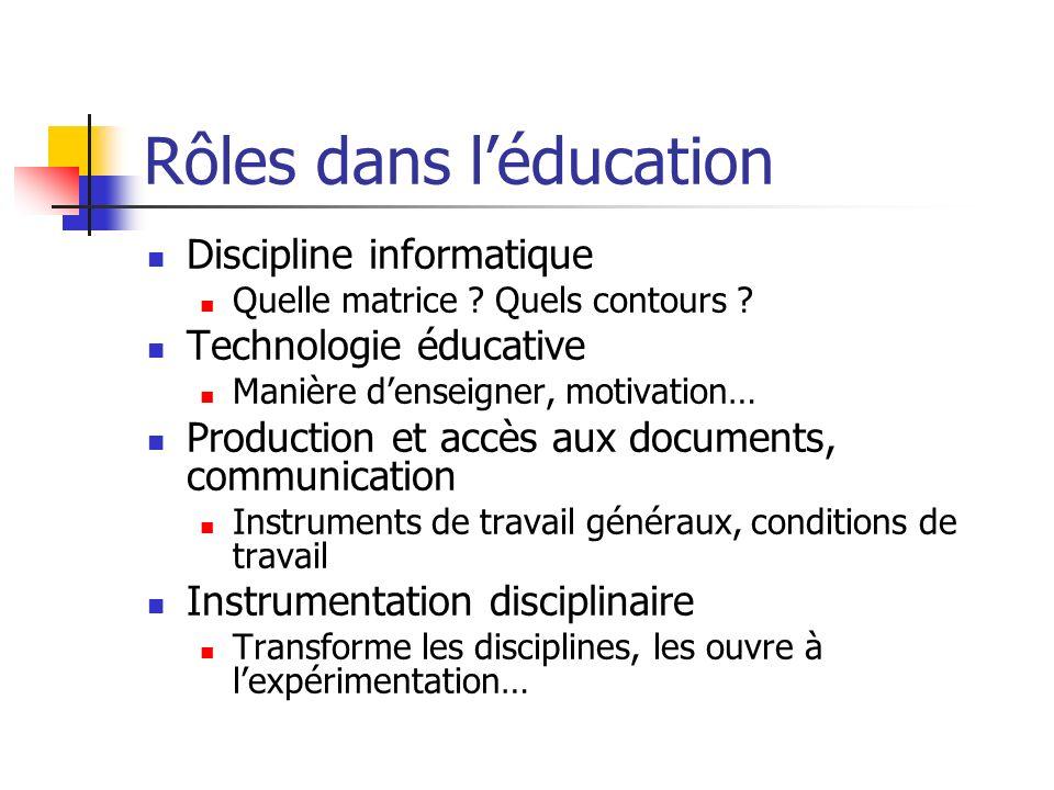 Rôles dans léducation Discipline informatique Quelle matrice ? Quels contours ? Technologie éducative Manière denseigner, motivation… Production et ac