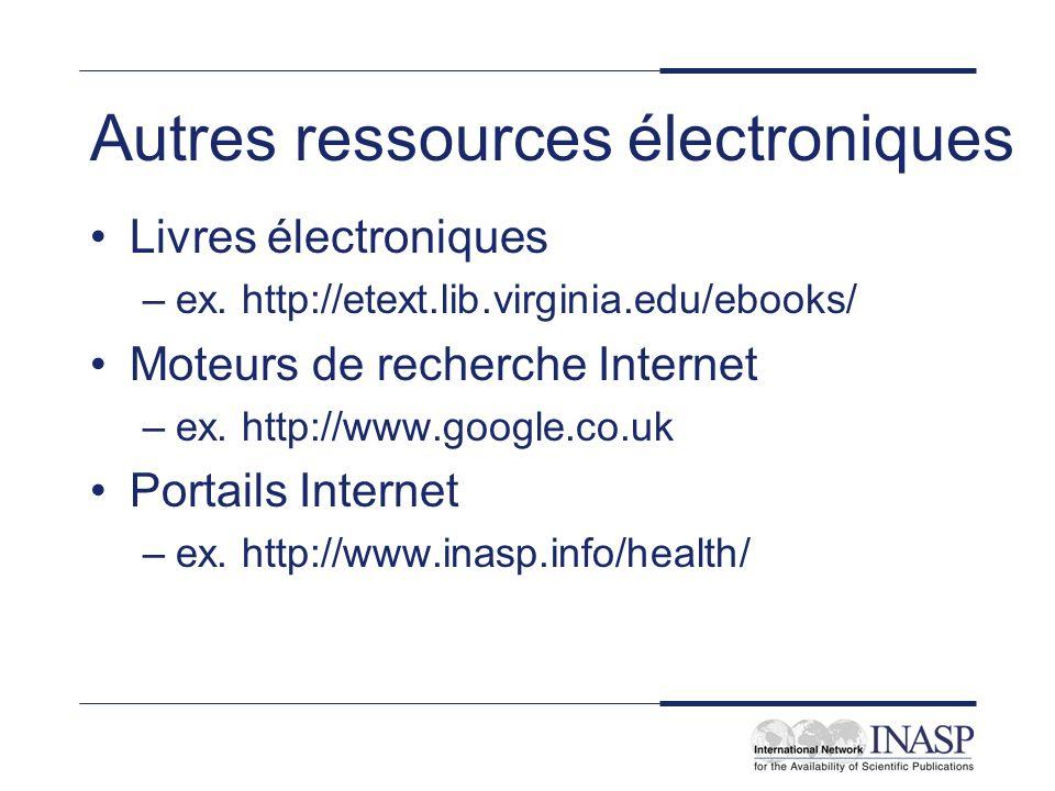 Autres ressources électroniques Livres électroniques –ex. http://etext.lib.virginia.edu/ebooks/ Moteurs de recherche Internet –ex. http://www.google.c