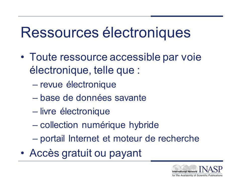 Ressources électroniques Toute ressource accessible par voie électronique, telle que : –revue électronique –base de données savante –livre électroniqu