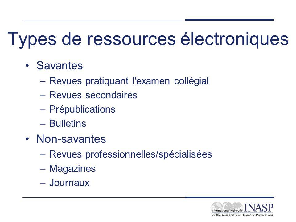 Types de ressources électroniques Savantes –Revues pratiquant l'examen collégial –Revues secondaires –Prépublications –Bulletins Non-savantes –Revues