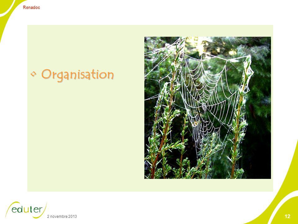 2 novembre 2013 Renadoc 12 OrganisationOrganisation