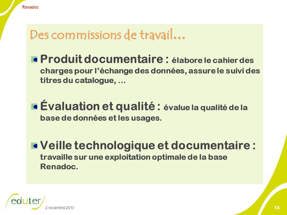 2 novembre 2013 Renadoc 14 Des commissions de travail … Produit documentaire : élabore le cahier des charges pour léchange des données, assure le suiv