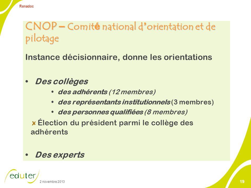 2 novembre 2013 Renadoc 19 CNOP – Comit é national d orientation et de pilotage Instance décisionnaire, donne les orientations Des collèges des adhére
