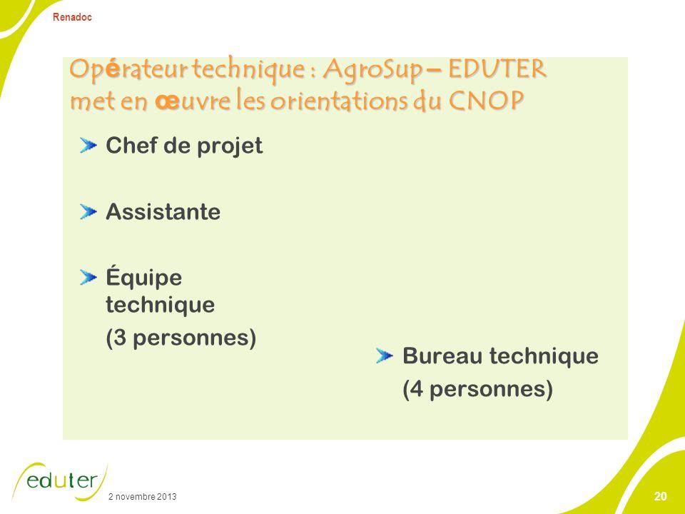 2 novembre 2013 Renadoc 20 Op é rateur technique : AgroSup – EDUTER met en œ uvre les orientations du CNOP Bureau technique (4 personnes) Chef de proj