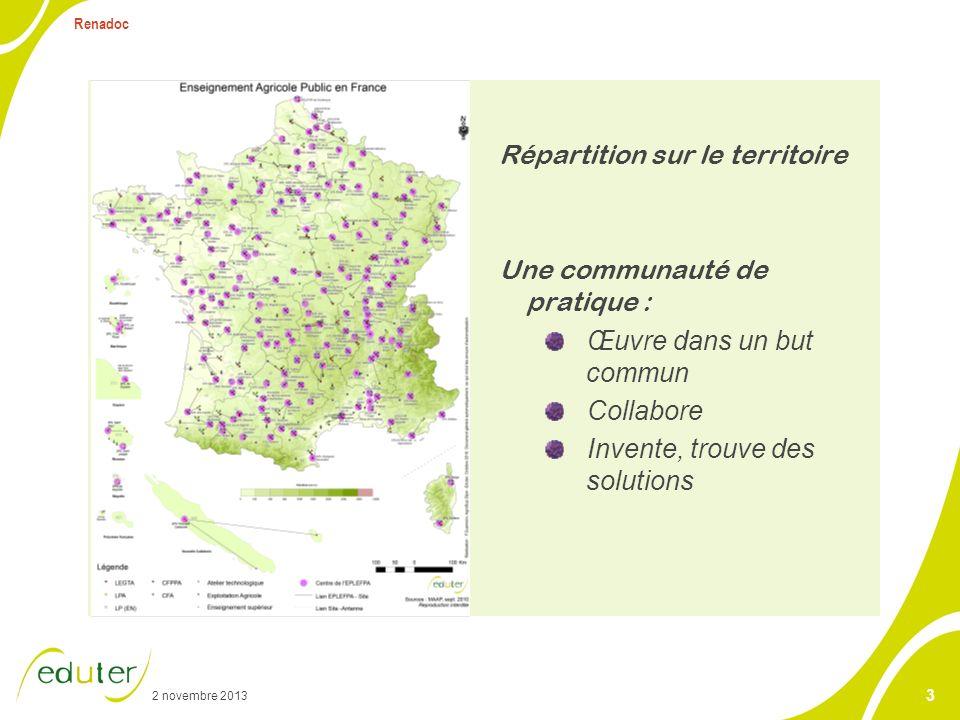 2 novembre 2013 Renadoc 3 Répartition sur le territoire Une communauté de pratique : Œuvre dans un but commun Collabore Invente, trouve des solutions
