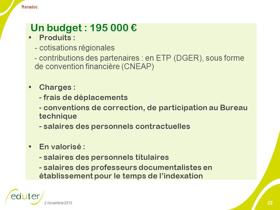 2 novembre 2013 Renadoc 22 Un budget : 195 000 Produits : - cotisations régionales - contributions des partenaires : en ETP (DGER), sous forme de conv