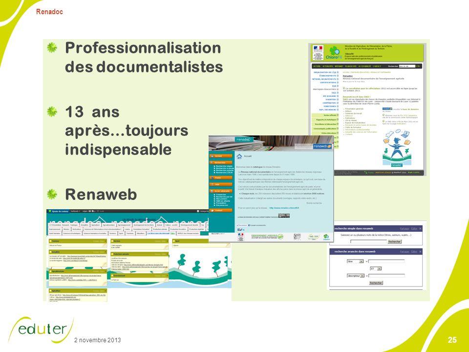 2 novembre 2013 Renadoc 25 Professionnalisation des documentalistes 13 ans après…toujours indispensable Renaweb