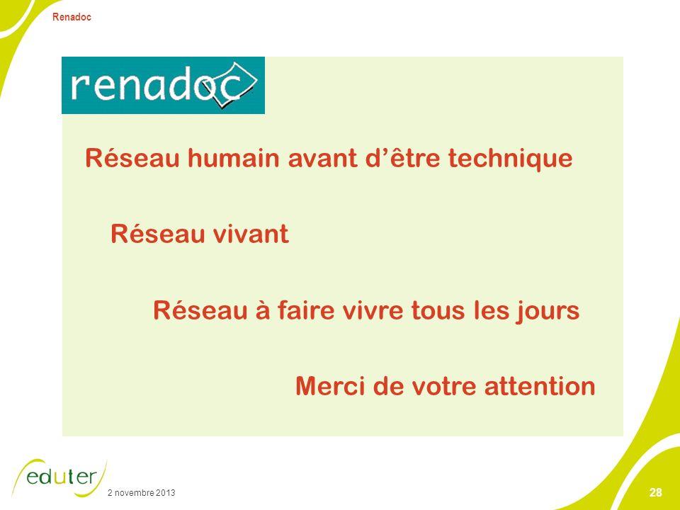 2 novembre 2013 Renadoc 28 Réseau humain avant dêtre technique Réseau vivant Réseau à faire vivre tous les jours Merci de votre attention