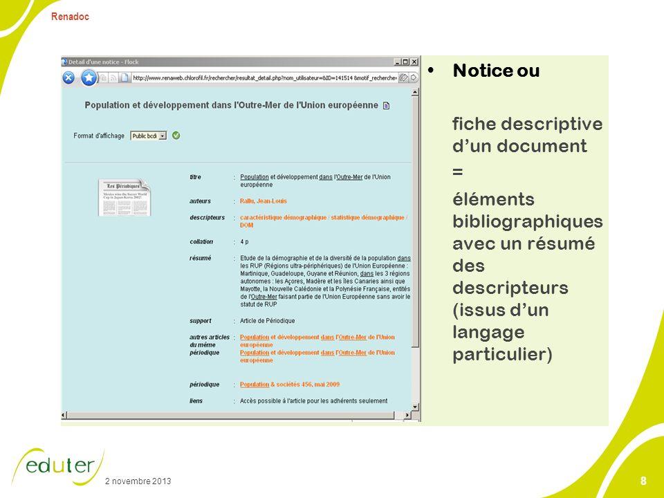 2 novembre 2013 Renadoc 8 Notice ou fiche descriptive dun document = éléments bibliographiques avec un résumé des descripteurs (issus dun langage part