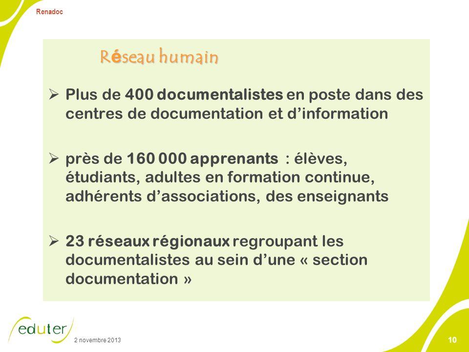 2 novembre 2013 Renadoc 10 R é seau humain Plus de 400 documentalistes en poste dans des centres de documentation et dinformation près de 160 000 appr