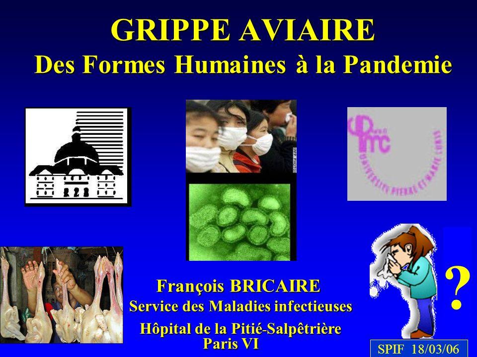 François BRICAIRE Hôpital de la Pitié - Salpêtrière Paris VI GRIPPE AVIAIRE Des Formes Humaines à la Pandemie Service des Maladies infectieuses ? SPIF