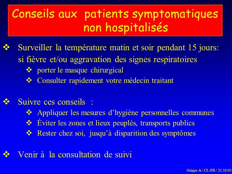 Conseils aux patients symptomatiques non hospitalisés Surveiller la température matin et soir pendant 15 jours: si fièvre et/ou aggravation des signes