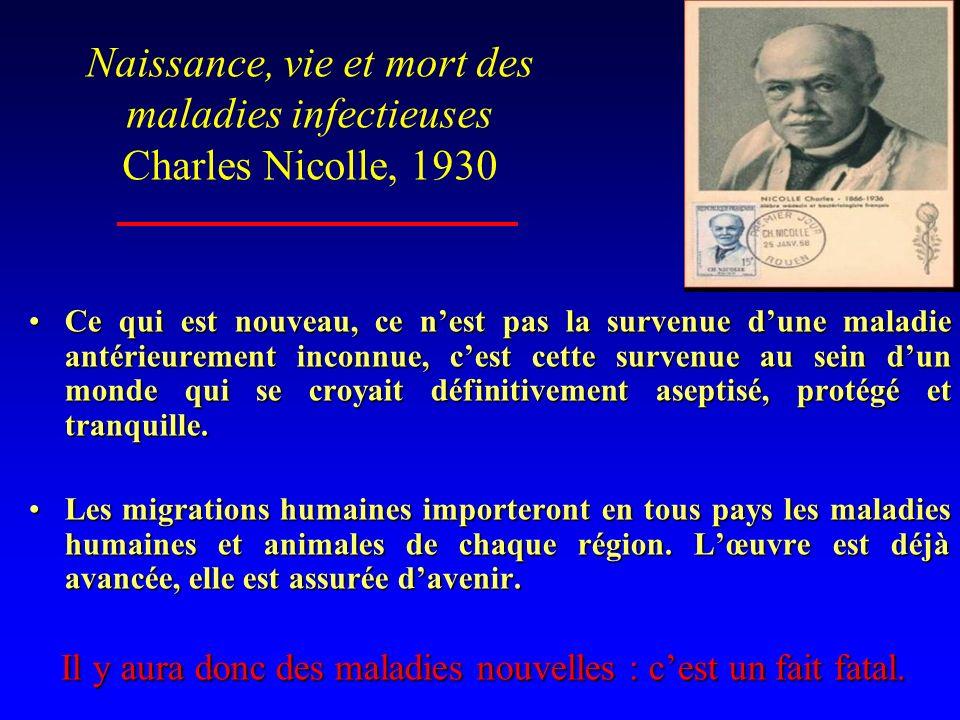 Naissance, vie et mort des maladies infectieuses Charles Nicolle, 1930 Ce qui est nouveau, ce nest pas la survenue dune maladie antérieurement inconnu