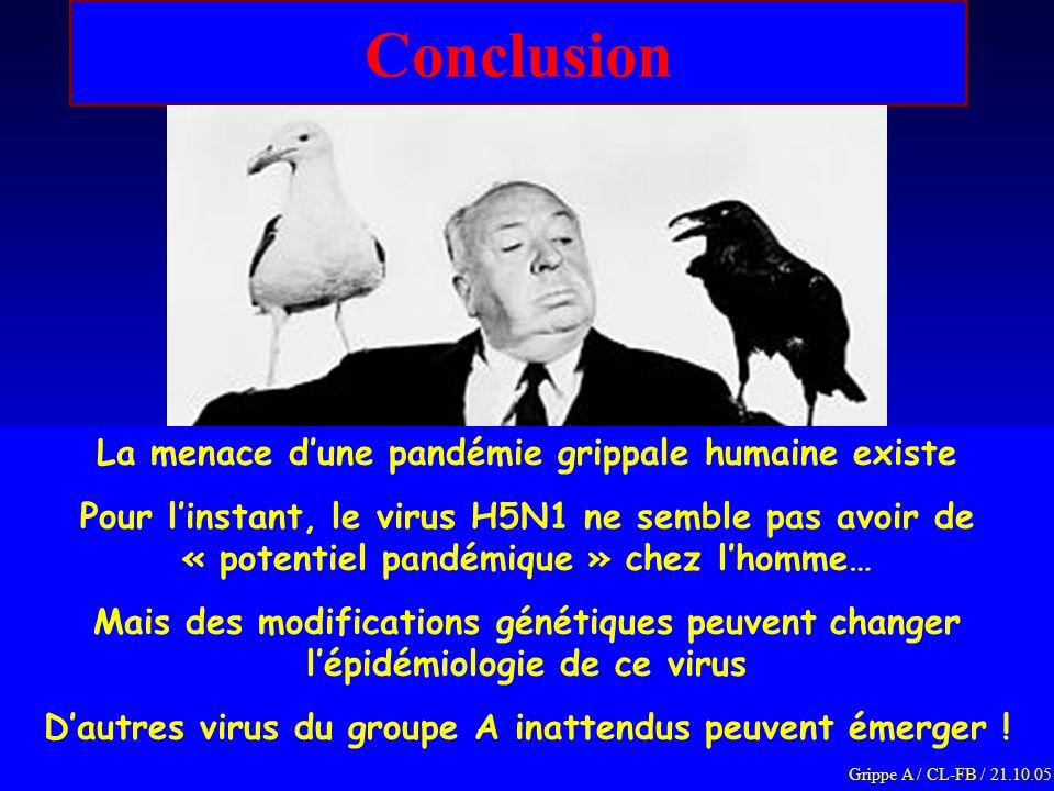 Conclusion La menace dune pandémie grippale humaine existe Pour linstant, le virus H5N1 ne semble pas avoir de « potentiel pandémique » chez lhomme… M